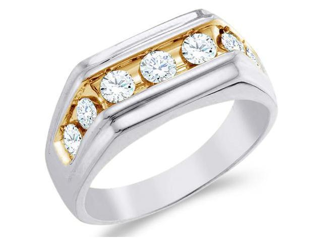 10k White and Yellow Two 2 Tone Gold Large Seven 7 Stone Classic Channel Set Round Cut Mens Diamond Wedding Ring Band 9mm (1.0 cttw, H Color, I1 Clarity)
