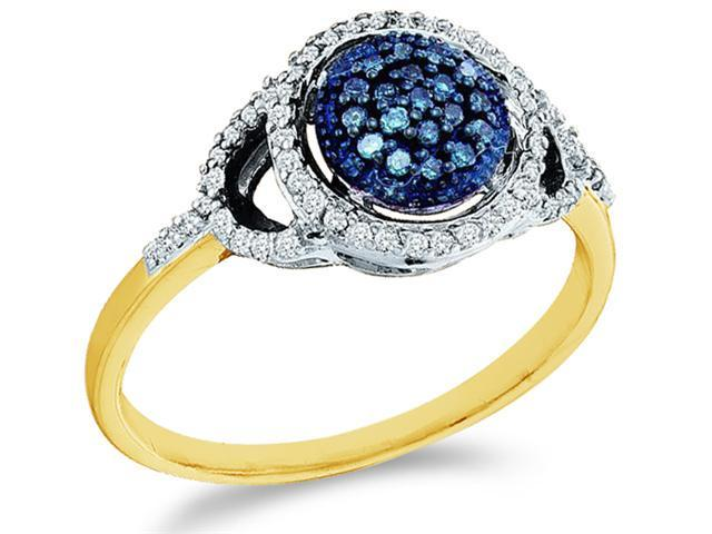 10k Yellow Gold Round Shape Center Cluster Style w/ Blue Diamonds Round Cut Ladies Diamond Engagement Anniversary Ring Band  (1/4 cttw, H Color, I1 Clarity)