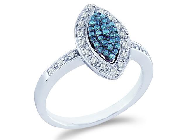 10k White Gold Marquise Shape Center Cluster Style w/ Blue Diamonds Round Cut Ladies Diamond Engagement Anniversary Ring Band  (1/4 cttw, H Color, I1 Clarity)
