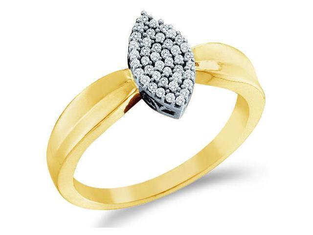 10k Yellow Gold Diamond Engagement Solitaire Style Center Setting Pave Set Marquise Shape Center Round Brilliant Cut Diamond Ring  (1/8 cttw, H Color, I1 Clarity)