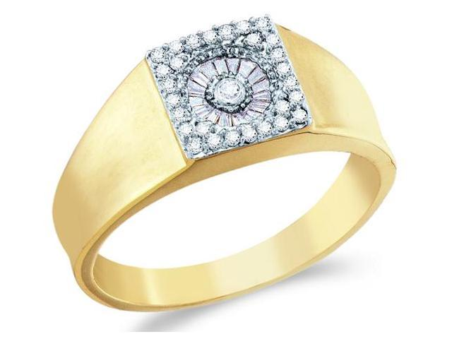 14k Yellow Gold Unique Solitaire Style w/ Side Stones Channel Set Round Cut Mens Diamond Wedding Ring Band 9mm (1/4 cttw, H Color, I1 Clarity)