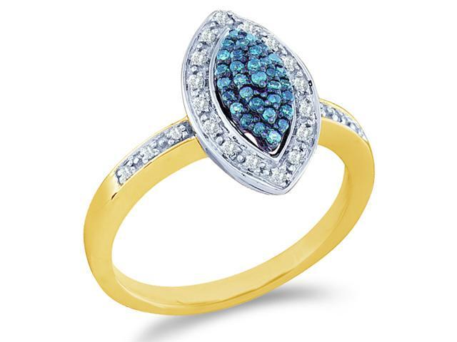 10k Yellow Gold Marquise Shape Center Cluster Style w/ Blue Diamonds Round Cut Ladies Diamond Engagement Anniversary Ring Band  (1/4 cttw, H Color, I1 Clarity)
