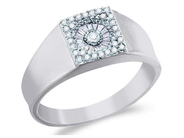 14k White Gold Unique Solitaire Style w/ Side Stones Channel Set Round Cut Mens Diamond Wedding Ring Band 9mm (1/4 cttw, H Color, I1 Clarity)