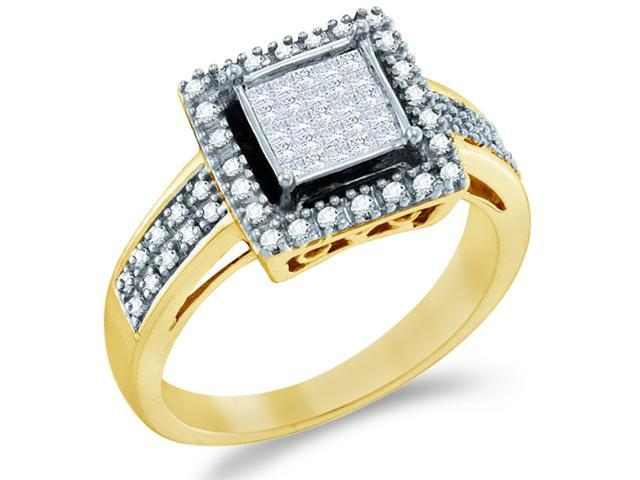 10k Yellow Gold Diamond Engagement Invisible Solitaire Style Center Setting with Side Stones Channel Set Princess and Round Brilliant Cut Diamond Ring  (1/3 cttw, H Color, I1 Clarity)