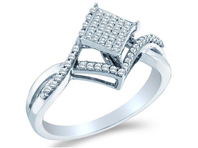 10k White Gold Princess Shape Center w/ Pave Setting Round Cut Diamond Engagement Ring 25mm (1/4 cttw, H Color, I1 Clarity)