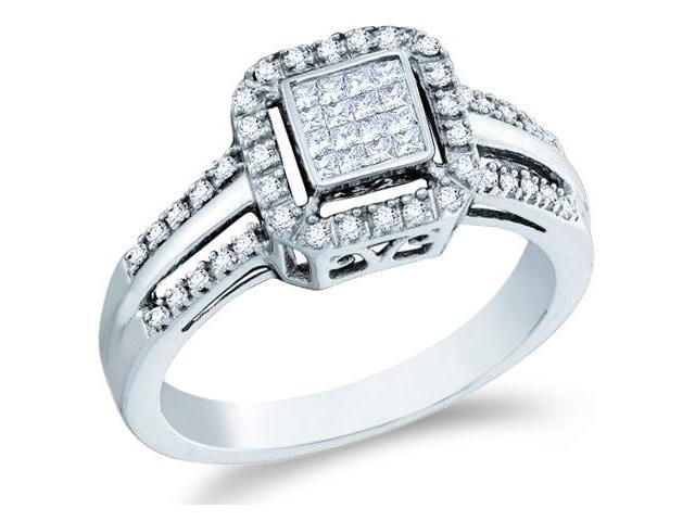 10k White Gold Diamond Engagement Invisible Solitaire Style Center Setting with Side Stones Channel Set Princess and Round Brilliant Cut Diamond Ring  (1/4 cttw, H Color, I1 Clarity)