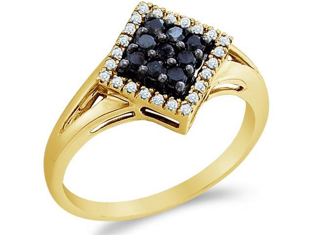 10k Yellow Gold Black and White Diamond Channel Set Round Cut Diamond Engagement Ring 12mm (1/4 cttw, H Color, I1 Clarity)