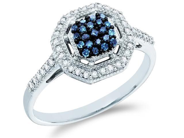 10k White Gold Cluster Style w/ Blue Diamonds Round Cut Ladies Diamond Engagement Anniversary Ring Band  (1/4 cttw, H Color, I1 Clarity)