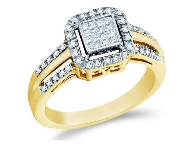 10k Yellow Gold Diamond Engagement Invisible Solitaire Style Center Setting with Side Stones Channel Set Princess and Round Brilliant Cut Diamond Ring  (1/4 cttw, H Color, I1 Clarity)