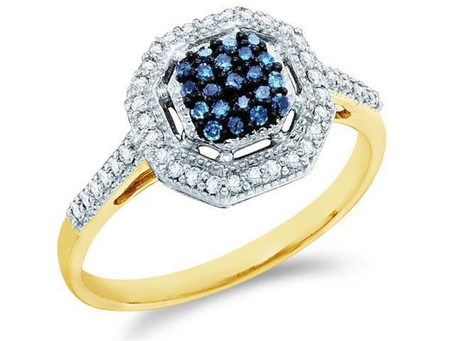 10k Yellow Gold Cluster Style w/ Blue Diamonds Round Cut Ladies Diamond Engagement Anniversary Ring Band  (1/4 cttw, H Color, I1 Clarity)