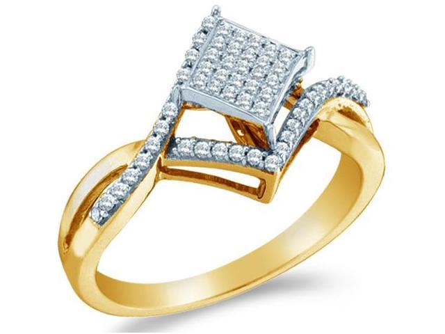 10k Yellow Gold Princess Shape Center w/ Pave Setting Round Cut Diamond Engagement Ring 25mm (1/4 cttw, H Color, I1 Clarity)