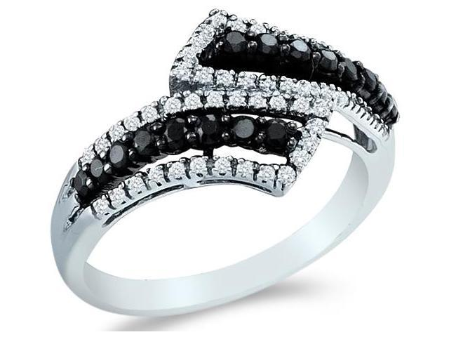 14k White Gold Cross Over Black and White Diamond Ladies Womens Anniversary Fashion Ring Band (1/2 cttw, G - H Color, I1 Clarity)