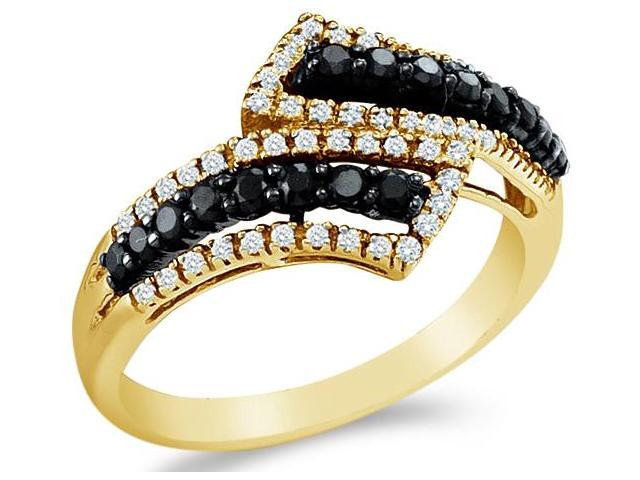 14k Yellow Gold Cross Over Black and White Diamond Ladies Womens Anniversary Fashion Ring Band (1/2 cttw, G - H Color, I1 Clarity)