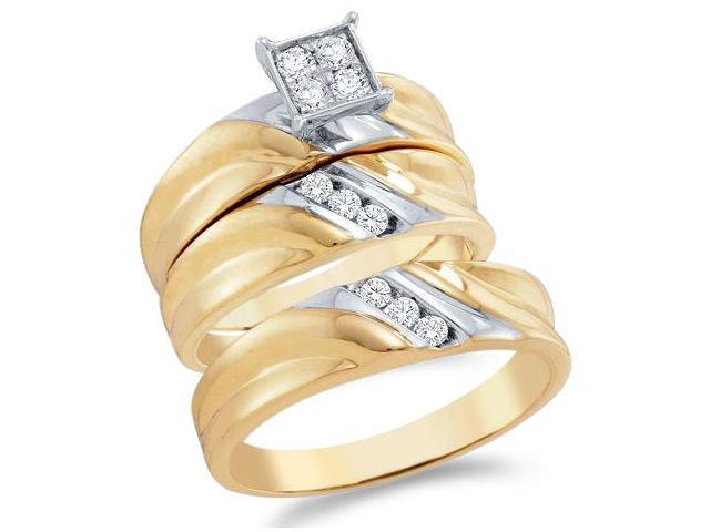 10k Yellow and White 2 Two Tone Gold Trio 3 Three Ring Matching Engagement Wedding Ring Band Set - Round Diamonds - Princess Shape Center Setting (.38 cttw, H Color, I1 Clarity)