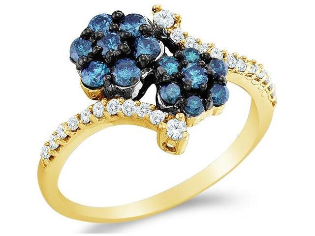 10k Yellow Gold Blue and White Diamond Invisible Set Cross Over Round Cut Ladies Anniversary Fashion Ring Band  (3/4 cttw, H Color, I1 Clarity)