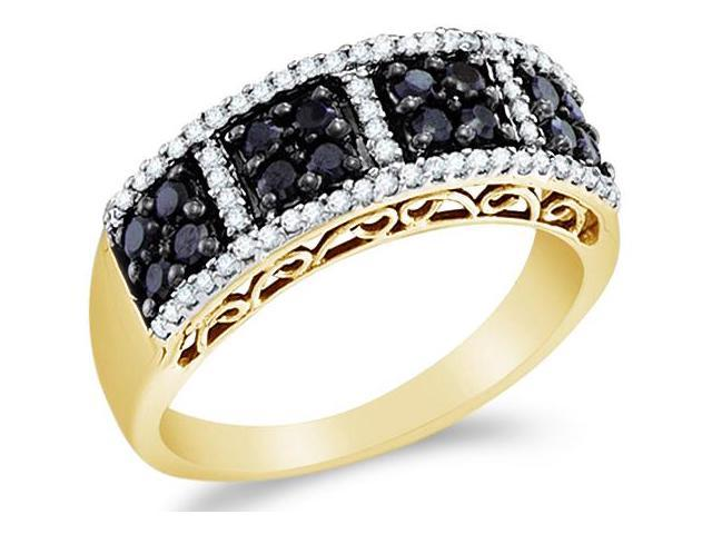 14k Yellow Gold Black and White Diamond Channel Set Round Cut Womens Wedding Anniversary Ring Band 7mm (.55 cttw, H Color, I1 Clarity)