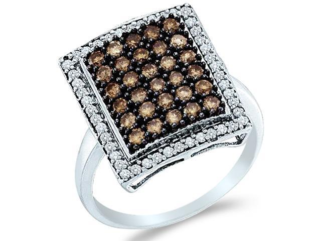 10k White Gold Brown Chocolate and White Diamond Emerald Shape Center Round Cut Womens Fashion Cocktail Anniversary Ring Band  (1.0 cttw, H Color, I1 Clarity)