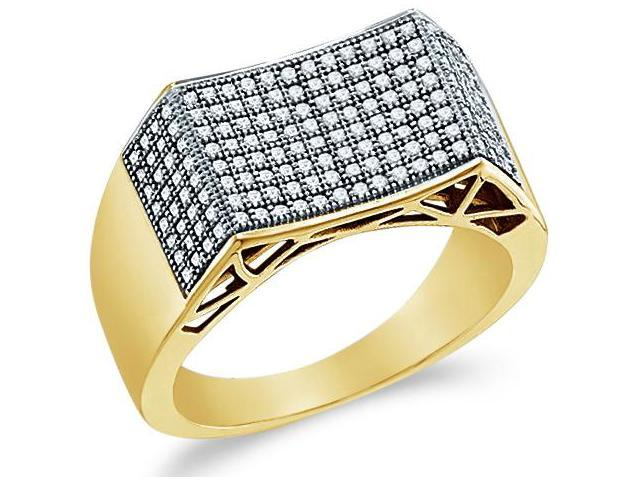 10k Yellow Gold Unique Micro Pave Set Round Cut Mens Diamond Wedding Ring Band (1/2 cttw, H Color, I1 Clarity)