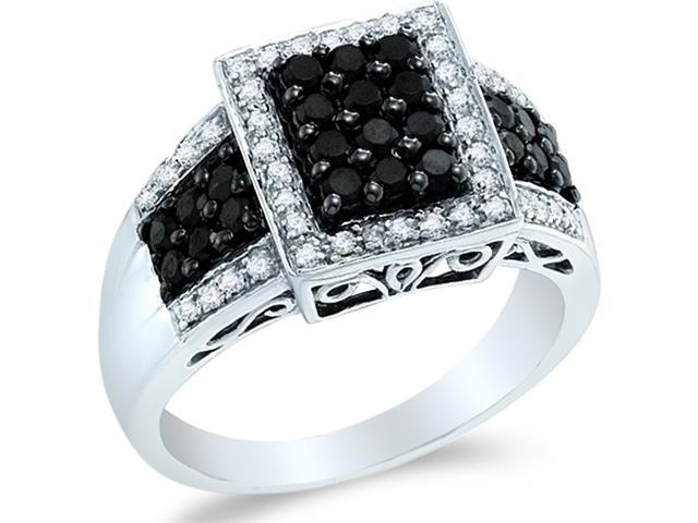 14k White Gold Black and White Diamond Emerald Shape Center Channel Set w/ Side Stones Round Cut Diamond Engagement Ring 11mm (.64 cttw, H Color, I1 Clarity)