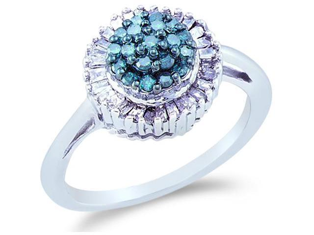 10k White Gold Cluster Style w/ Blue and White Diamonds Round Cut & Baguette Ladies Diamond Engagement Fashion Ring Band  (1/2 cttw, H Color, I1 Clarity)
