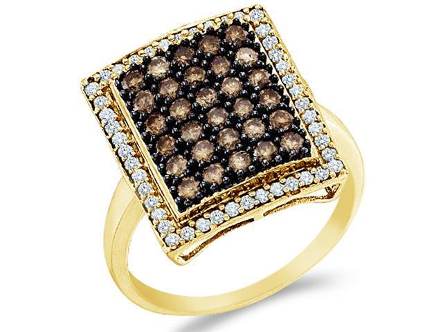 10k Yellow Gold Brown Chocolate and White Diamond Emerald Shape Center Round Cut Womens Fashion Cocktail Anniversary Ring Band  (1.0 cttw, H Color, I1 Clarity)