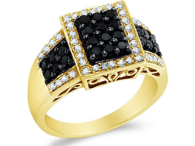 14k Yellow Gold Black and White Diamond Emerald Shape Center Channel Set w/ Side Stones Round Cut Diamond Engagement Ring 11mm (.64 cttw, H Color, I1 Clarity)
