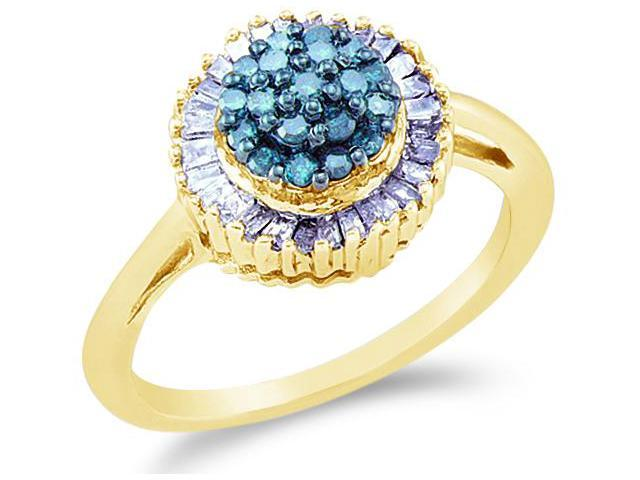 10k Yellow Gold Cluster Style w/ Blue and White Diamonds Round Cut & Baguette Ladies Diamond Engagement Fashion Ring Band  (1/2 cttw, H Color, I1 Clarity)