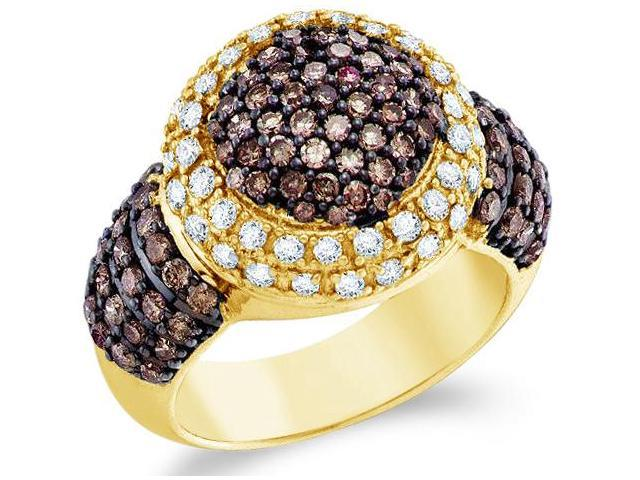 10k Yellow Gold Chocolate Brown and White Diamond Large Puffed Round Cut Womens Fashion Cocktail Anniversary Ring Band  (2.0 cttw, H Color, I1 Clarity)