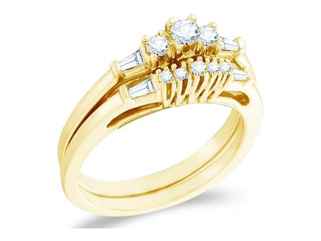 10k Yellow Gold Diamond Engagement Ring Matching Five 5 Stone Wedding Band Two 2 Ring Set Three 3 Stone Style Center Setting Side Stones  Diamond Ring  (1/3 cttw, H Color, SI2 Clarity)