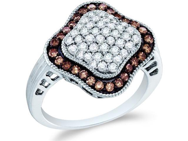 10k White Gold Chocolate Brown and White Diamond Round Cut Ladies Diamond Engagement or Anniversary Ring Band  (1.0 cttw, H Color, I1 Clarity)