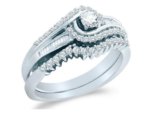 10k White Gold Diamond La s Engagement Ring Wedding Band Two 2 Ring Set Sol