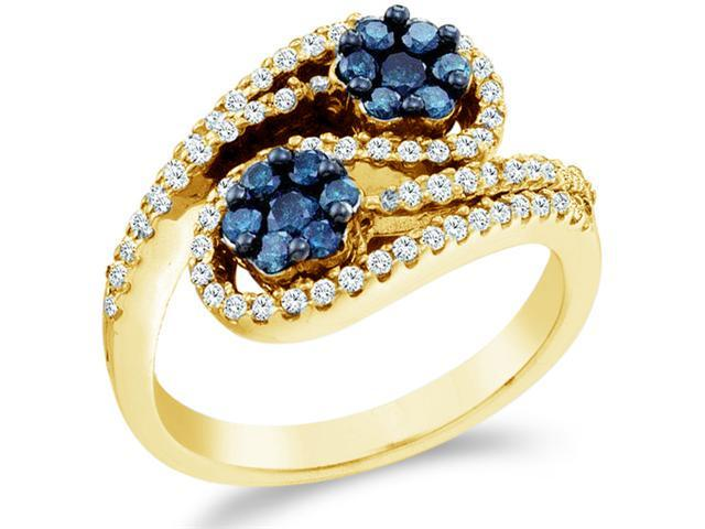 10k Yellow Gold Blue and White Diamond Cross Over Round Cut Womens Ladies Fashion Cocktail Anniversary Ring Band  (.70 cttw, H Color, I1 Clarity)
