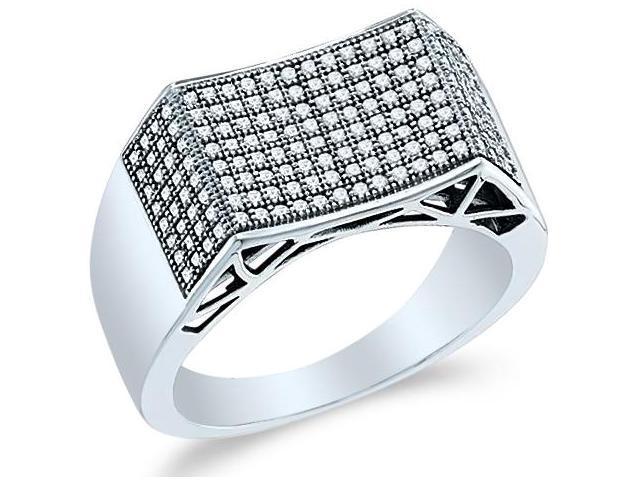 10k White Gold Unique Micro Pave Set Round Cut Mens Diamond Wedding Ring Band (1/2 cttw, H Color, I1 Clarity)