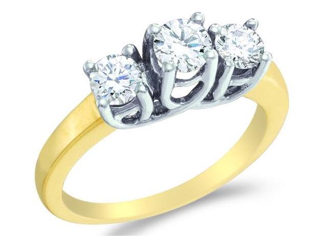 Solid 14k Yellow Gold 3 Three Stone Round Cut Diamond Engagement or Anniversary Ring Set in White Gold Prongs  (1.0 cttw, H Color, I1 Clarity)