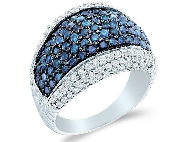 10k White Gold Blue and White Diamond Puffed Channel Set Round Cut Womens Fashion Cocktail Anniversary Ring Band 15mm (1.75 cttw, H Color, I1 Clarity)