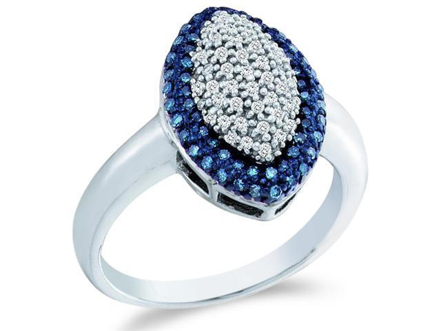 10k White Gold Blue and White Diamond Marquise Shape Center Pave Setting Round Cut Ladies Diamond Engagement Ring Band  (1/3 cttw, H Color, I1 Clarity)