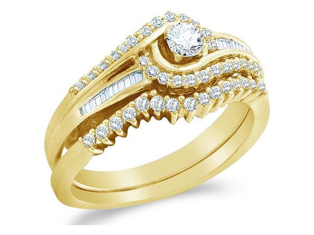 10k Yellow Gold Diamond La s Engagement Ring Wedding Band Two 2 Ring Set So