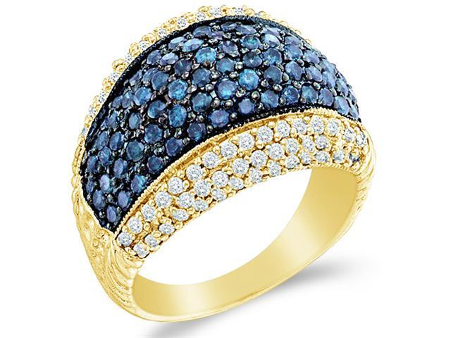 10k Yellow Gold Blue and White Diamond Puffed Channel Set Round Cut Womens Fashion Cocktail Anniversary Ring Band 15mm (1.75 cttw, H Color, I1 Clarity)
