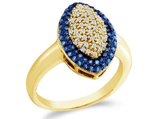 10k Yellow Gold Blue and White Diamond Marquise Shape Center Pave Setting Round Cut Ladies Diamond Engagement Ring Band  (1/3 cttw, H Color, I1 Clarity)