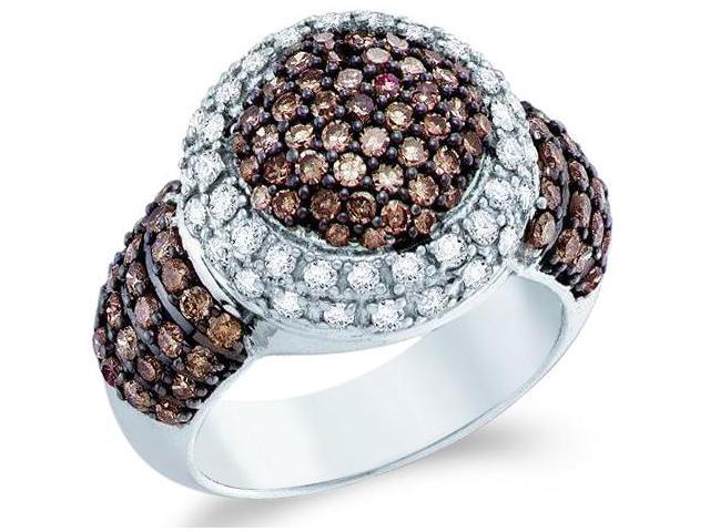 10k White Gold Chocolate Brown and White Diamond Large Puffed Round Cut Womens Fashion Cocktail Anniversary Ring Band  (2.0 cttw, H Color, I1 Clarity)