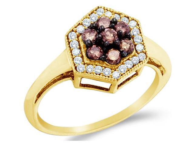 10k Yellow Gold Chocolate Brown and White Diamond Round Cut Ladies Diamond Engagement or Anniversary Ring Band  (1/2 cttw, H Color, I1 Clarity)