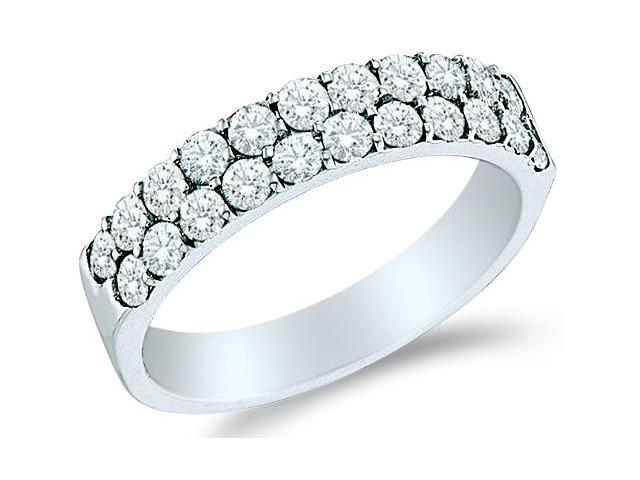 10k White Gold Two Row Round Diamond Ladies Womens Wedding or Anniversary Ring Band (.47 cttw, G - H Color, I1 Clarity)
