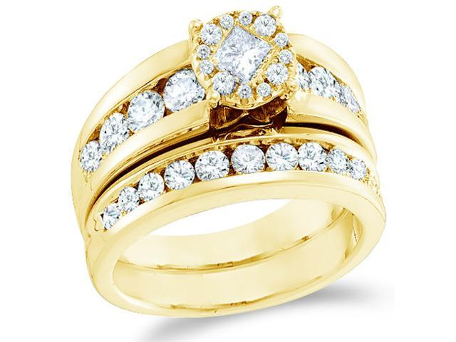14k Yellow Gold Diamond Engagement Ring Wedding Band Two 2 Ring Set Solitaire Style Center Setting Large Princess and Round Cut Diamond Ring 22mm (1.76 cttw, G - H Color, SI2 Clarity)