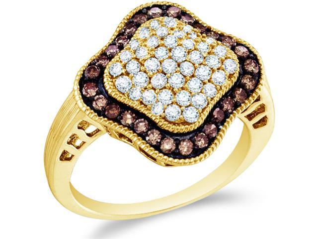 10k Yellow Gold Chocolate Brown and White Diamond Round Cut Ladies Diamond Engagement or Anniversary Ring Band  (1.0 cttw, H Color, I1 Clarity)