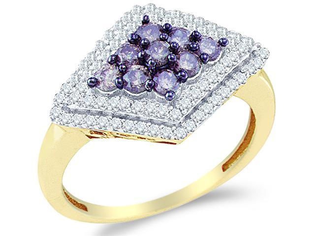 10k Yellow Gold Blue and White Diamond Round Cut Womens Ladies Wedding, Anniversary or Right Hand Ring Band  (4/5 cttw, H Color, I1 Clarity)