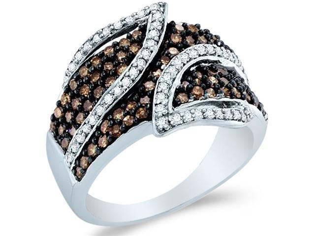 10k White Gold Chocolate Brown and White Diamond Round Cut Ladies Anniversary Fashion Ring Band  (1.0 cttw, H Color, I1 Clarity)