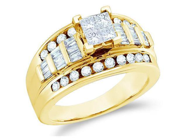 14k Yellow Gold Diamond Engagement Invisible Solitaire Style Center Setting with Side Stones Channel Set Princess , Round & Baguette Cut Diamond Ring  (1.0 cttw, H Color, I1 Clarity)
