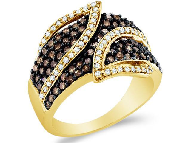10k Yellow Gold Chocolate Brown and White Diamond Round Cut Ladies Anniversary Fashion Ring Band  (1.0 cttw, H Color, I1 Clarity)
