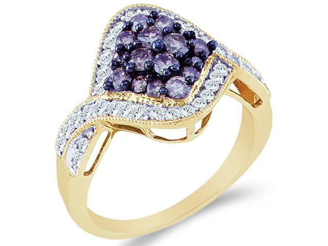 10k Yellow Gold Blue and White Diamond Marquise Shape Center Setting Round Cut Ladies Diamond Engagement, Anniversary or Right Hand Ring Band  (1.0 cttw, H Color, I1 Clarity)