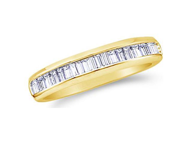 10k Yellow Gold Channel Set Baguette Diamond Ladies Womens Wedding or Anniversary 2mm Ring Band (.15 cttw, G - H Color, I1 Clarity)